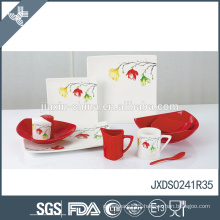 Alkali-resistant eco-friendly nice flower print customized coloured porcelain dinnerware