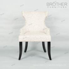 Fournisseur chinois tissu couvert restaurant chaise en bois avec accoudoir