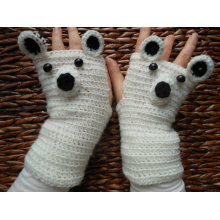 Crochet Fingerless Mittens Gloves White Bear