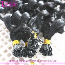 Usine de prix directement buse plate extension meilleure qualité remy cheveux humains brésiliens les extensions de cheveux plat Astuce cheveux