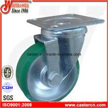 Roda de giro giratória PU azul de 4 polegadas