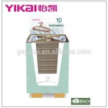 Supper market promotional colorful plastic clothes hanger in display carton