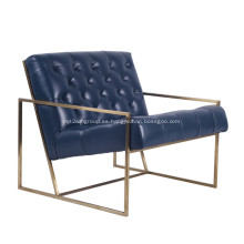 Sillón de salón con asiento acolchado con estructura de acero inoxidable delgado