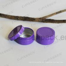 Kleine Runde Aluminiumdose mit Rutschdeckel (lila Farbe)