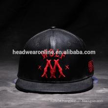 High Quality PU leather Sport hat Embroidery Custom Snapback Wholesale