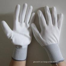 Luvas de PU branco luva de trabalho elétrica mão segurança