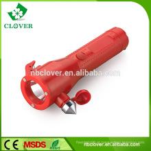 Com martelo de segurança 1W LED + 3 LED vermelho tocha lanterna de emergência de emergência