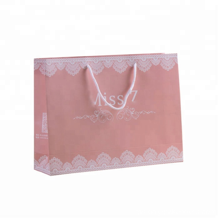 Pink Color Print Coated Gift Paper Bag