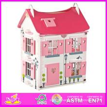 2014 mode nouveaux enfants en bois jouet maison de poupée, luxe grand en bois enfants jouet maison de poupée, vente chaude bébé en bois jouet maison de poupée mis en usine W06A051