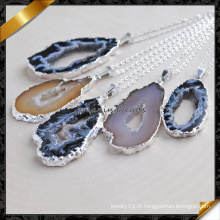 Collier pendentif Agate Slice avec chaîne en argent (FN086)