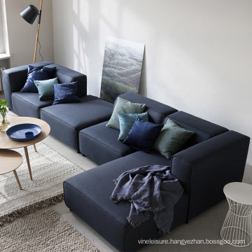 Contemporary Living Room Furniture Right Chaise Lounge Corner Couch Navy Blue Fabric 4 Seater Sectional Sofa