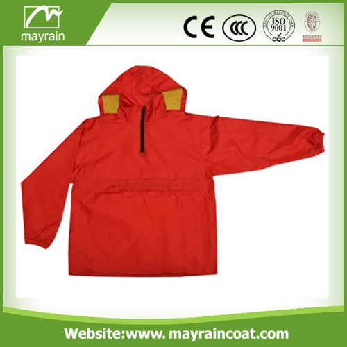 Orange Man Polyester Raincoat with Hood