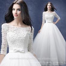 Robe De Mariage 2017 style nouveau style blanc / ivoire plus taille maxi robes de mariée en dentelle à manches longues MW2202