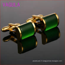 VAGULA haut Grade Catseye brassard liens or manchettes poignets chemise Français Gemelos boutons de manchettes Onyx