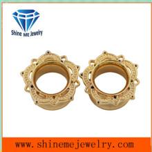 Body Piercing Jewelry Gold Flower Tunnel Ear Plug