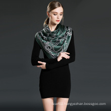 Pure Silk Printed Scarf for Women Green