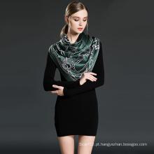Lenço impresso de seda pura para mulheres verde