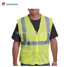 China Soem-Wirtschafts-gelbe Leuchtstoffsicherheitsweste-hohe Sicht-Polyester-Fahrbahn-Arbeits-Weste mit Band-u. Schleifen-Schließungs-Taschen