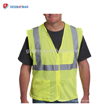 China Colete de segurança fluorescente amarelo de economia de OEM colete de trabalho de estrada de poliéster de alta visibilidade com bolsos de encerramento de argola & Loop