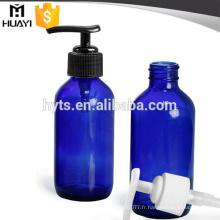 Bouteille de compte-gouttes de sérum cosmétique de verre de couleur bleue de 100ml avec la pompe