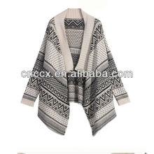 13STC5506 pull en laine jacquard à col châle femme poncho