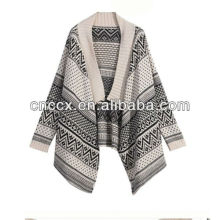 13STC5506 lady wool poncho shalw-collar jacquard cardigan sweater