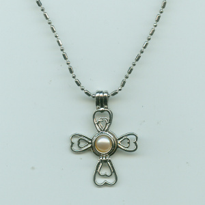 Silver Plated Cross Shaped 6-7mm Pearl Cage Pendant