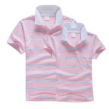 Venta al por mayor Striped Couple Pink Polo T Shirt
