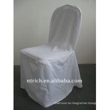 Cubierta de silla de banquete estándar de color blanco, material de poliéster CTV556, durable y fácil de lavar