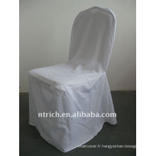 couverture standard de chaise de banquet de couleur blanche, matériel de polyester de CTV556, durable et facile à laver