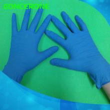 Guantes de examen de nitrilo desechables de alta calidad con color azul
