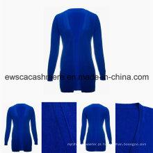 Women′s minimalismo cor sólida da v-garganta superior da classe pura suéter