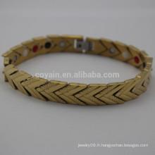 Bracelet en acier inoxydable plaqué or en chaîne