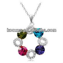 Collar pendiente asombroso del rhinestone, collar pendiente cristalino, collar cristalino de la declaración de la joyería