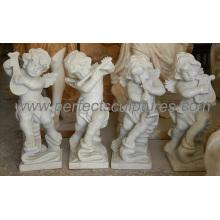 Escultura de pedra querubim estátua anjo pequeno bebê mármore escultura (sy-x1064)