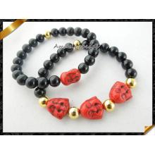 La sonrisa roja de Howlite Buddha rebordeó la pulsera de los encantos con la joyería de la ágata (CB067)