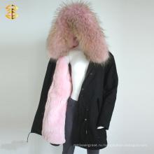 Розовый Raccoon Rex Кролик Девушки Зимний мех Пользовательский куртка