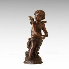 Kinderfigur Statue Winkel Cupid Kind Bronze Skulptur TPE-923