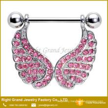 316L Surgical Steel Barbell Pink Rhinestone Angel Wings Dangle Nipple Rings Jewelry