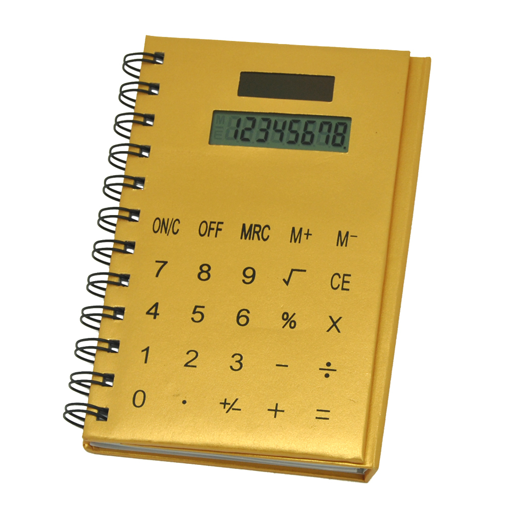 8 Digits Solar Power PU Coil Notebook Calculator
