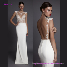 Sexy Open Back Luxurious Transparent Lace Sleeveless Wedding Dress