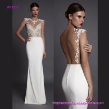 Sexy Open Back Luxurious Transparent Lace Sleeveless Wedding Dress