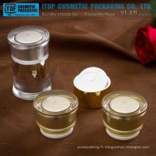 Chambre double de 50g (25 g x 2) YJ-XD Series round pot acrylique crème pour le visage taille