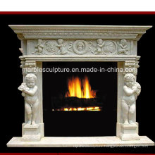 Factory Price Marble Fireplace with Child Carved (SY-MF167)