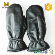 Warm Winter 100% Real Rabbit Fur Lining Sheepskin Leather Mittens for Men