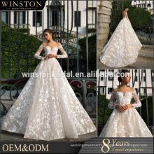 China Supplier Custom Made Big Backless robe de bal Robe de mariée en champagne 2017 Puffy Ball Gown