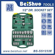 32 PCS 1 / 2''Dr. Conjunto de soquete de chave de fenda de carraca de vanádio cromado