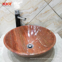 Red Wash Basin Vessel Sink Bathroom Marble Countertop With Sink