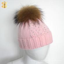 Caliente Invierno Rosa Ropa De Piel De Tejido Niña Beanie Sombrero Con Pelota De Piel Pom Pom