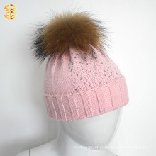 Warm Winter Pink Fur Knitted Girl Beanie Beanie Hat com pele Ball Pom Pom